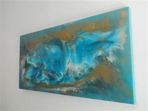 acrylic paint on epoxy resin epoxy resin abstract painting thermal current 18 quot x 36