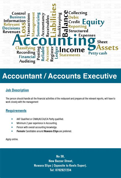 What Is The Minimum Experience Required For Executive Mba by Accountant Accounts Executive Vacancy In Sri Lanka