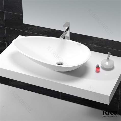 boat shaped basin wash basin with two end countertop acrylic stone basin