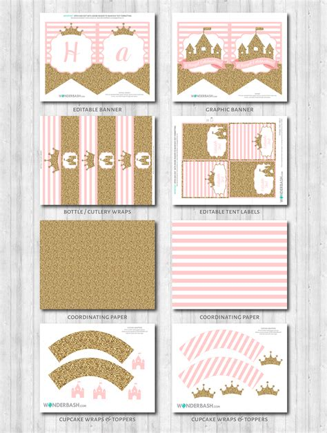printable pink birthday party decorations princess party decor pink gold glitter wonderbash
