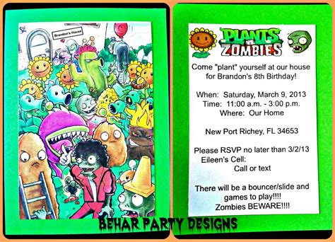 pvz card template plants vs zombies birthday ideas photo 8 of 64