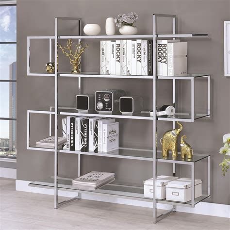 chrome and glass bookcase chrome clear tempered glass bookcase las vegas furniture