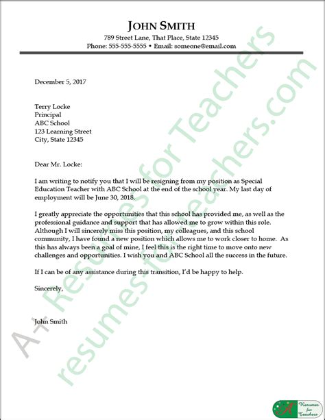writing a letter of resignation teacher best ideas of resignation