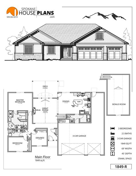 Ranch House Plans Walkout Bat Custom House Plans With Walkout Bat