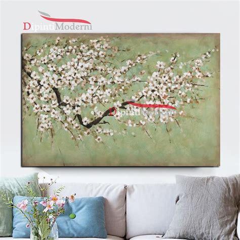 dipinto di fiori dipinto a mano ramo di fiori bianchi dipinti moderni