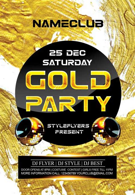 Download The Gold Party Free Flyer Template Gold Flyer Template
