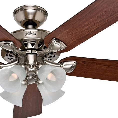 hunter traditional ceiling fans hunter 52 traditional large room brushed nickel finish