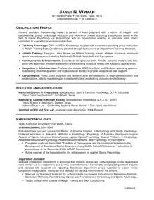 Exles Of A Resume by Resume Sles