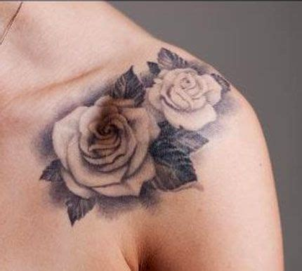 open rose tattoos black and white two roses on left front shoulder