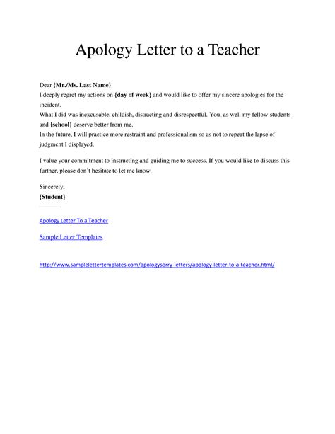 Small Apology Letter To Minimalist Letter Template Of Apology To For The Incident By Student Thogati