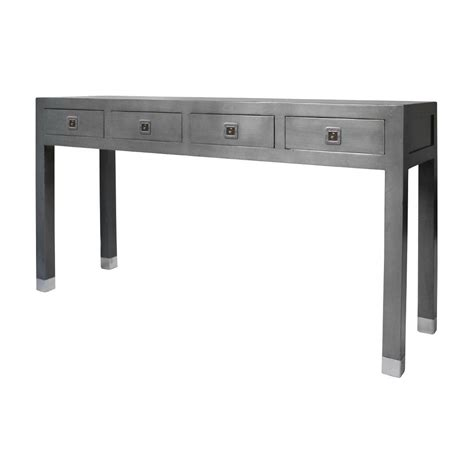 buy qing dao graphite grey large console table grey table Gray Console Table