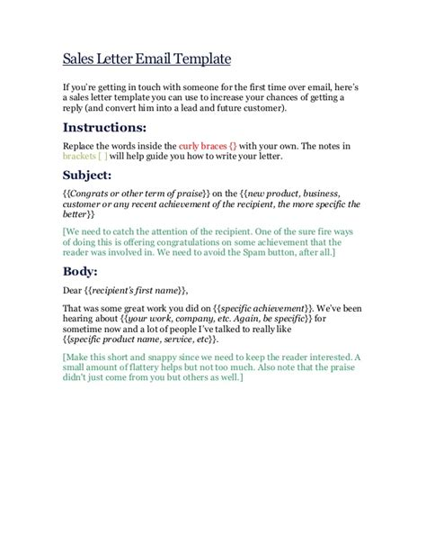 sales email template sales letter email template