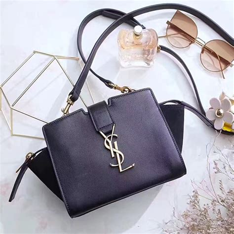 ysl mini cabas bag in black leather 452322