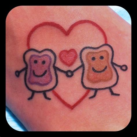 cute and animated peanut butter and jelly tattoos tattoo
