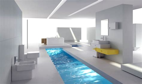 White minimalist bathroom interior design rendering