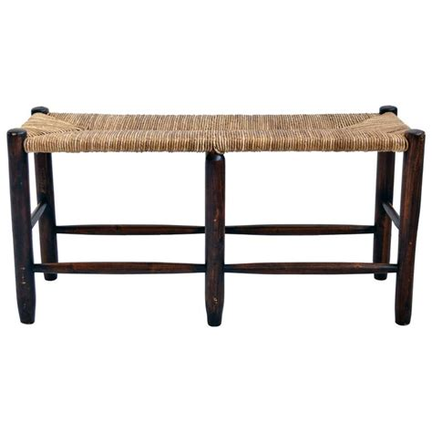wood seating bench wood bench with woven rush seat at 1stdibs
