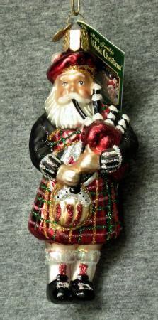 scottish piper christmas decoration blown glass highland santa in kilt bagpipe world ornament n