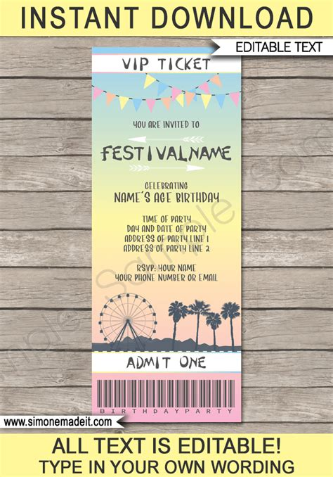 Coachella Themed Party Ticket Invitation Template Festival Invite Themed Invitations Free Templates