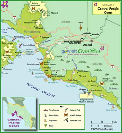 san jose pacifico map pacifico central con manuel antonio costa rica go