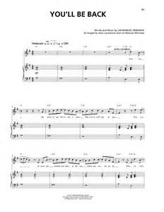 Room Arrangement App you ll be back sheet music by lin manuel miranda piano