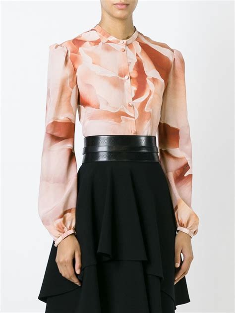 the b club print blouse pink mcqueen print blouse in pink pink purple