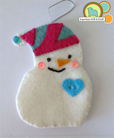felt crafts sequined snowmen felt ornament tutorial