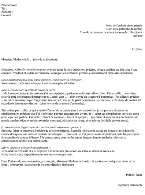 Demande De Visa Lettre De Motivation Lettre De Motivation Visa 233 Tudiant Employment Application