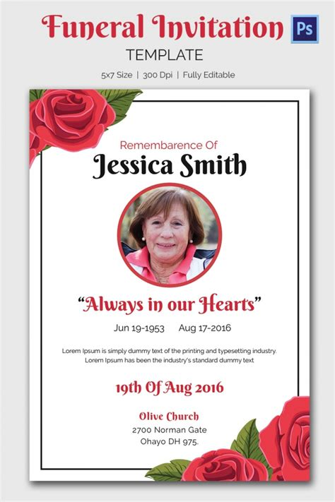 free funeral announcement templates funeral invitation template 12 free psd vector eps ai