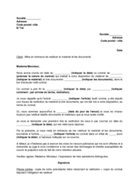 Exemple De Lettre De Demande De Matériel Informatique Exemple Gratuit De Lettre Mise En Demeure Restituer