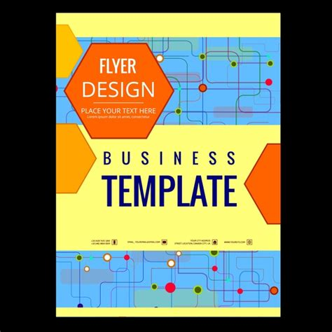 Business Flyer Design Template Points Connection Style Free Vector In Adobe Illustrator Ai Ai Graphic Flyer Templates Free