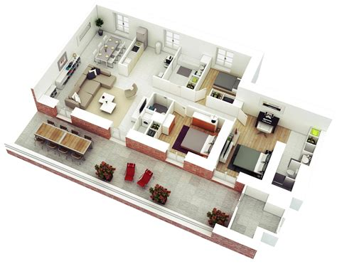 3 room 3d house plan 25 more 3 bedroom 3d floor plans architecture design