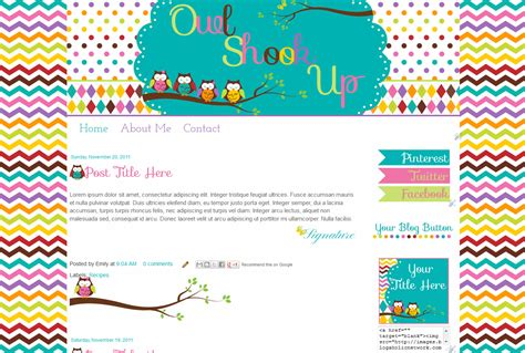 cute owl heart premade blog template pictures