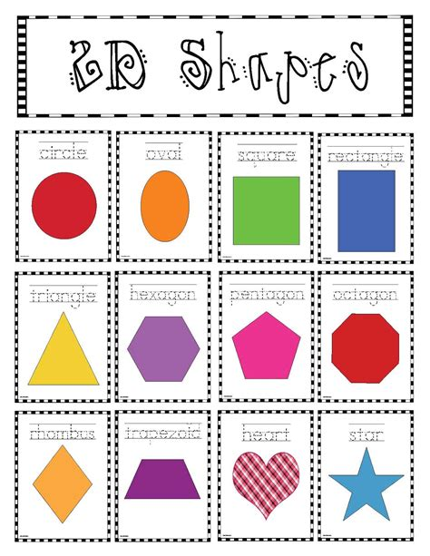 free printable shapes poster classroom freebies 2d shapes poster packet