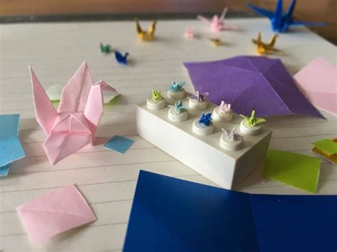Tiny Origami Crane - oh wow folding origami paper cranes the size of lego