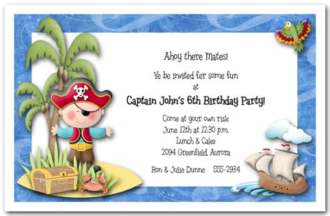 invitation wording for children s birthday boy pirate island invitations pirate birthday