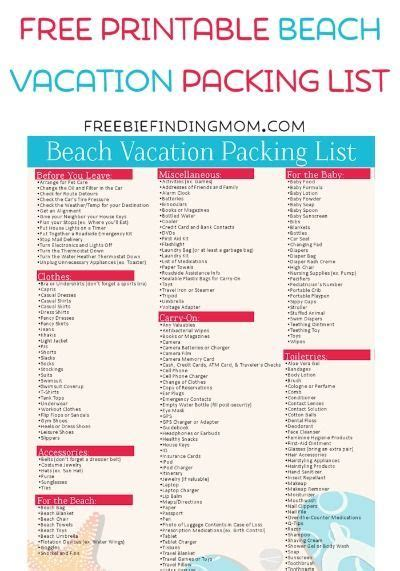 printable travel checklist for family free printable beach vacation packing list beach