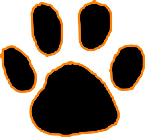 black tiger paw print with orange outline clip art at