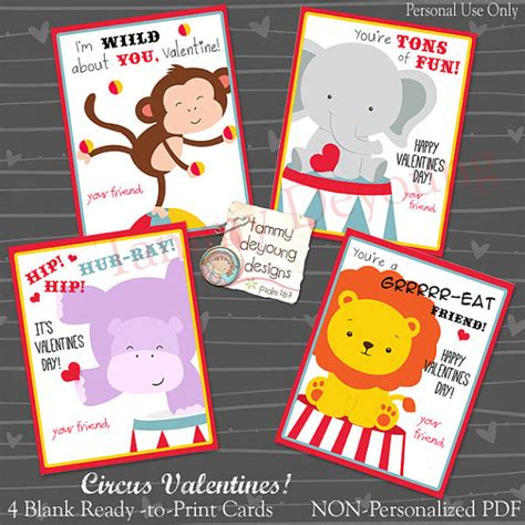 boys valentines cards items similar to circus cards printable