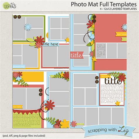 Digital Scrapbook Template Photo Mat Full Scrapping With Liz Free Photo Mat Templates