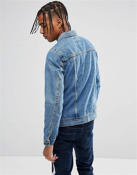 Jaket Wash Pull Quality lyst pull denim jacket in mid wash in blue for