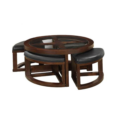 Wedge Coffee Table Furniture Of America Cove Ii Walnut Coffee Table With 4 Wedge Shaped Ottomans