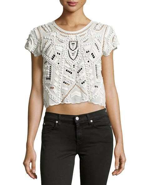 beaded tops friends beaded chiffon crop top in white lyst