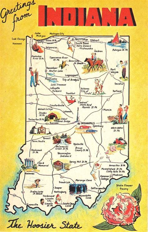 indiana state map greetings from indiana state map vintage postcard maps vintage and indiana