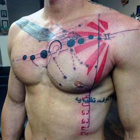 chest tattoo abstract 60 gemini tattoos for men zodiac ink design ideas