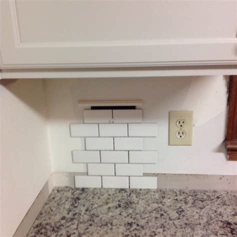 Decorative Tile Backsplash White 2x4 Tile Backsplash With Black Line Accent