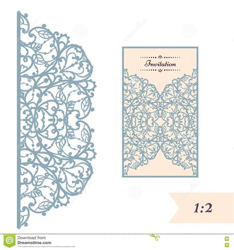 Paper Cards Cut Template by Wedding Invitation Or Greeting Card With Abstract Ornament