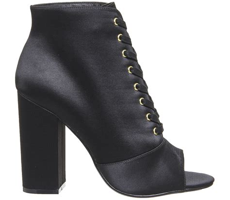 2 Die 4 Antoinette Ankle Boot by Office Antoinette Lace Up Boots Black Satin Ankle Boots
