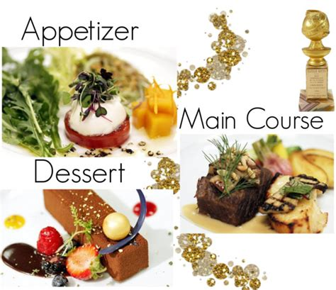 dinner courses gold flakes and more for the golden globes the