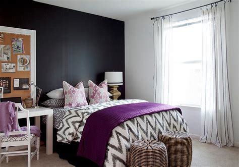 black white purple bedroom plush purple accents in the black and white bedroom decoist