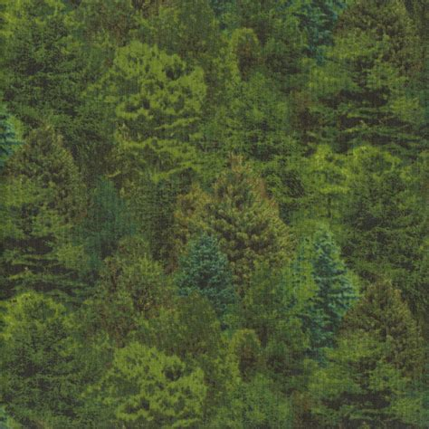Landscape Fabric Trees Evergreen Green Trees Nature Landscape Quilting Fabric